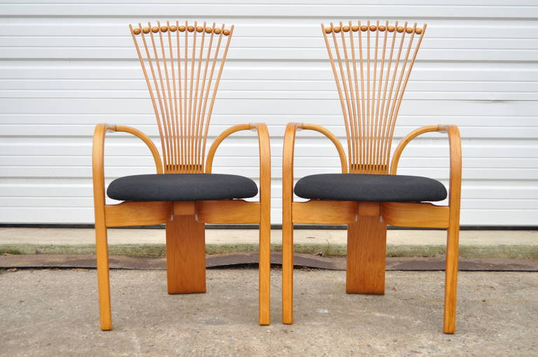 Set Of Six Vintage Mid Century Danish Modern Teak Fan Back Dining Chairs By Torstein