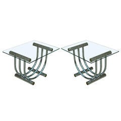 Pair of Chrome, Brass, and Glass Sculpted Arch End Tables attr. to Romeo Rega