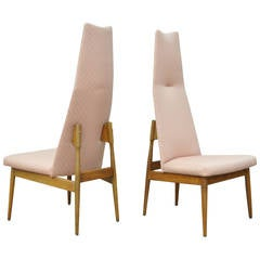 Pair of Adrian Pearsall for Craft Associates High Back Walnut Dining Side Chairs