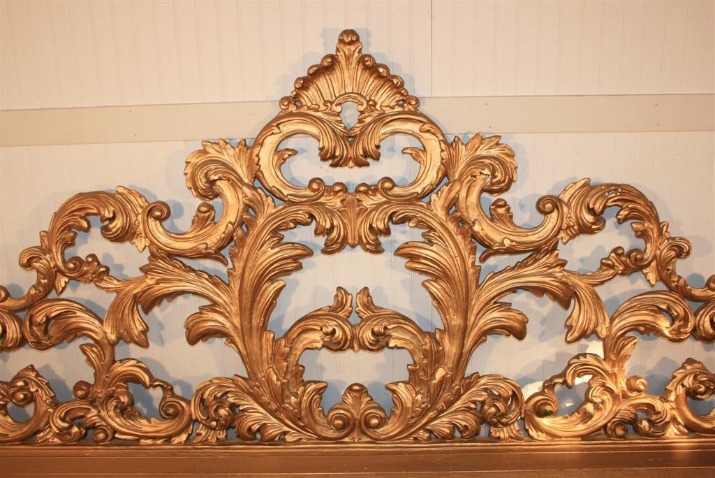 Vintage Carved Wood & Gesso Rococo Style King Size Bed Headboard 3