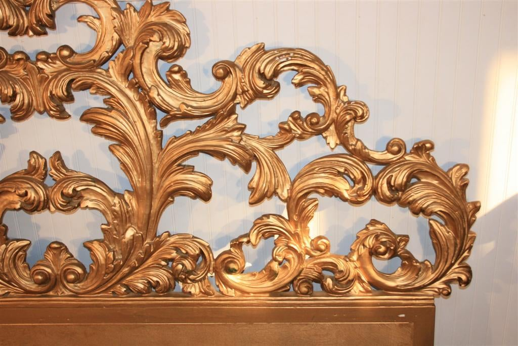 Vintage Carved Wood & Gesso Rococo Style King Size Bed Headboard 4