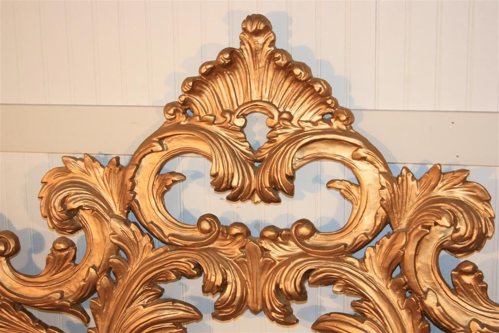 Vintage carved wood and gesso rococo style king size bed