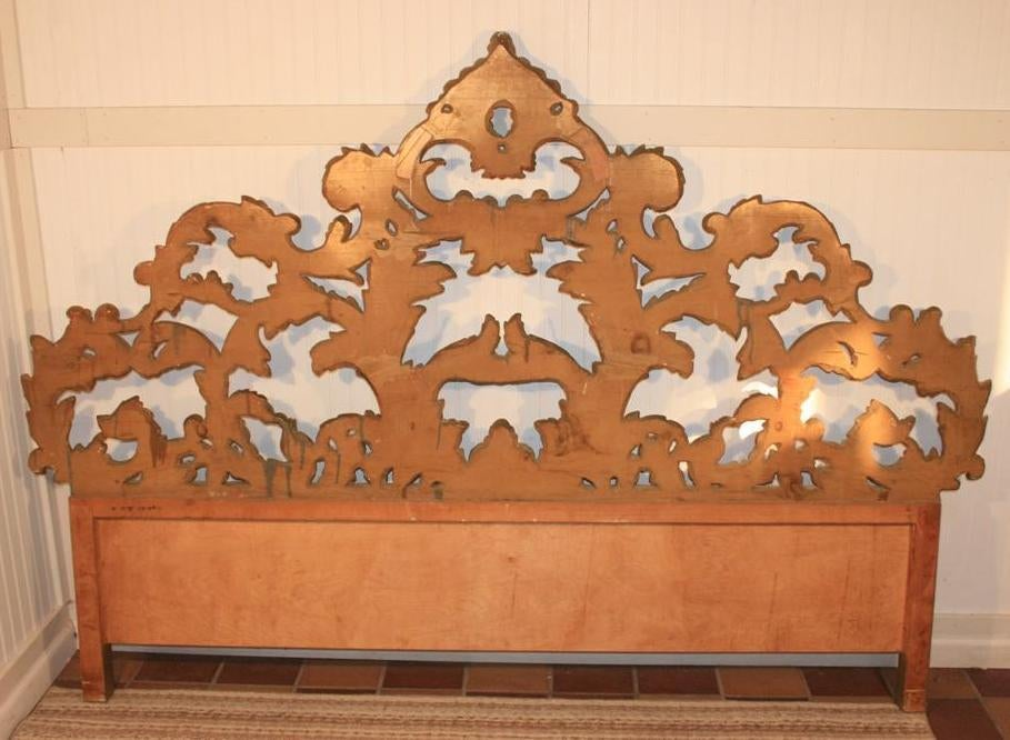 Vintage Carved Wood & Gesso Rococo Style King Size Bed Headboard 9