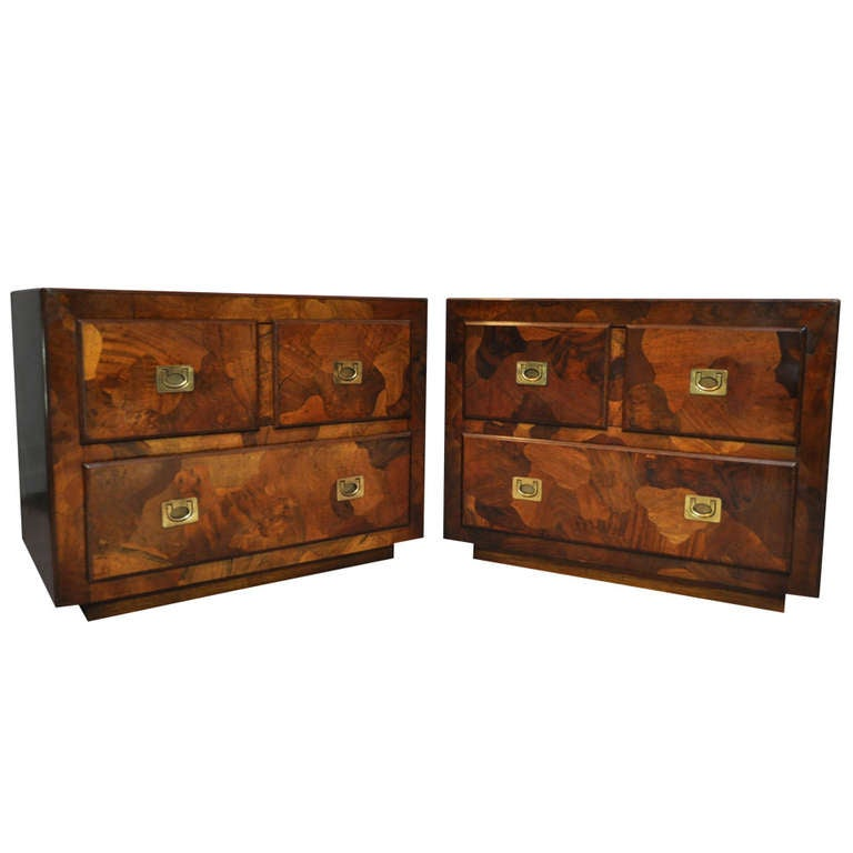 Pair Patchwork Burl Wood Campaign Style Nightstands Chests   Milo Baughman  Taste 1