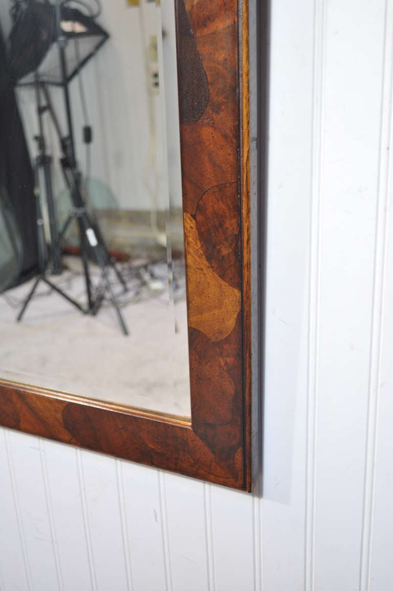 Mid century modern patchwork burl wood beveled glass for Beveled glass mirror