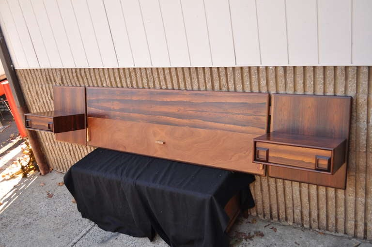 Rosewood Floating King Bed Headboard And Pair Nightstands