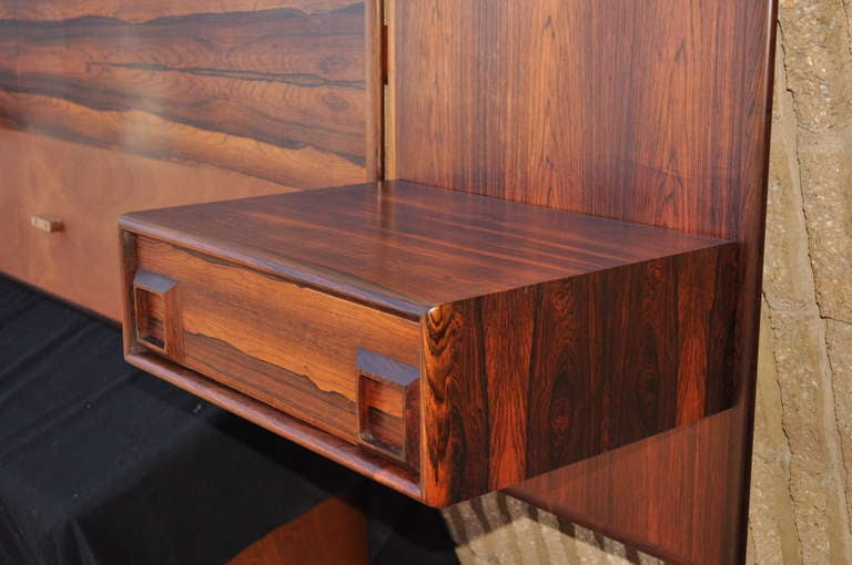 Rosewood Floating King Bed Headboard and Pair Nightstands Arne Vodder Danish Style at 1stdibs