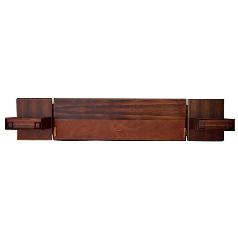 Rosewood Floating King Bed Headboard & Pair Nightstands Arne Vodder Danish Style