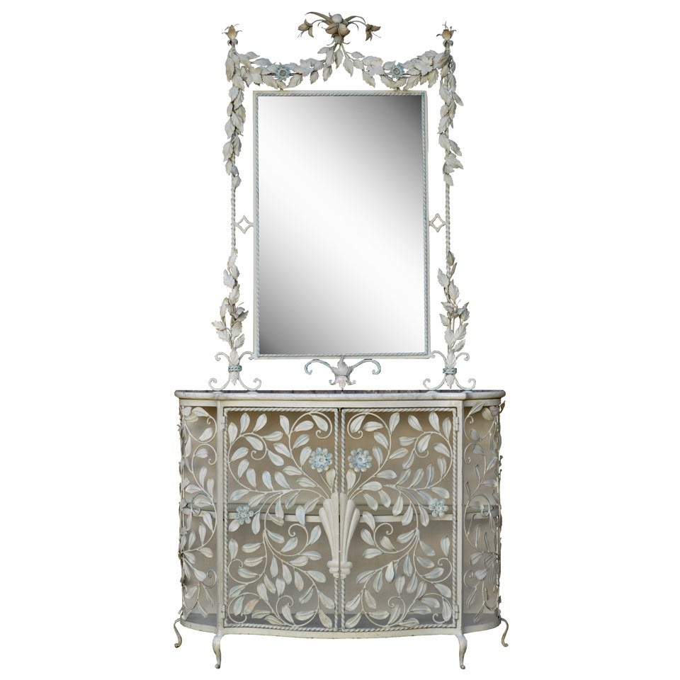 Ornate french floral wrought iron mirror and marble top console table or cabinet for sale at 1stdibs - Ornate hall table ...