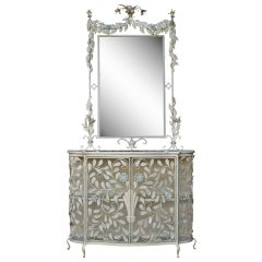 French Floral Shabby Chic Wrought Iron Mirror & Marble Top Console Table Cabinet