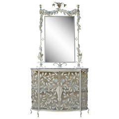 Ornate French Floral Wrought Iron Mirror and Marble Top Console Table or Cabinet