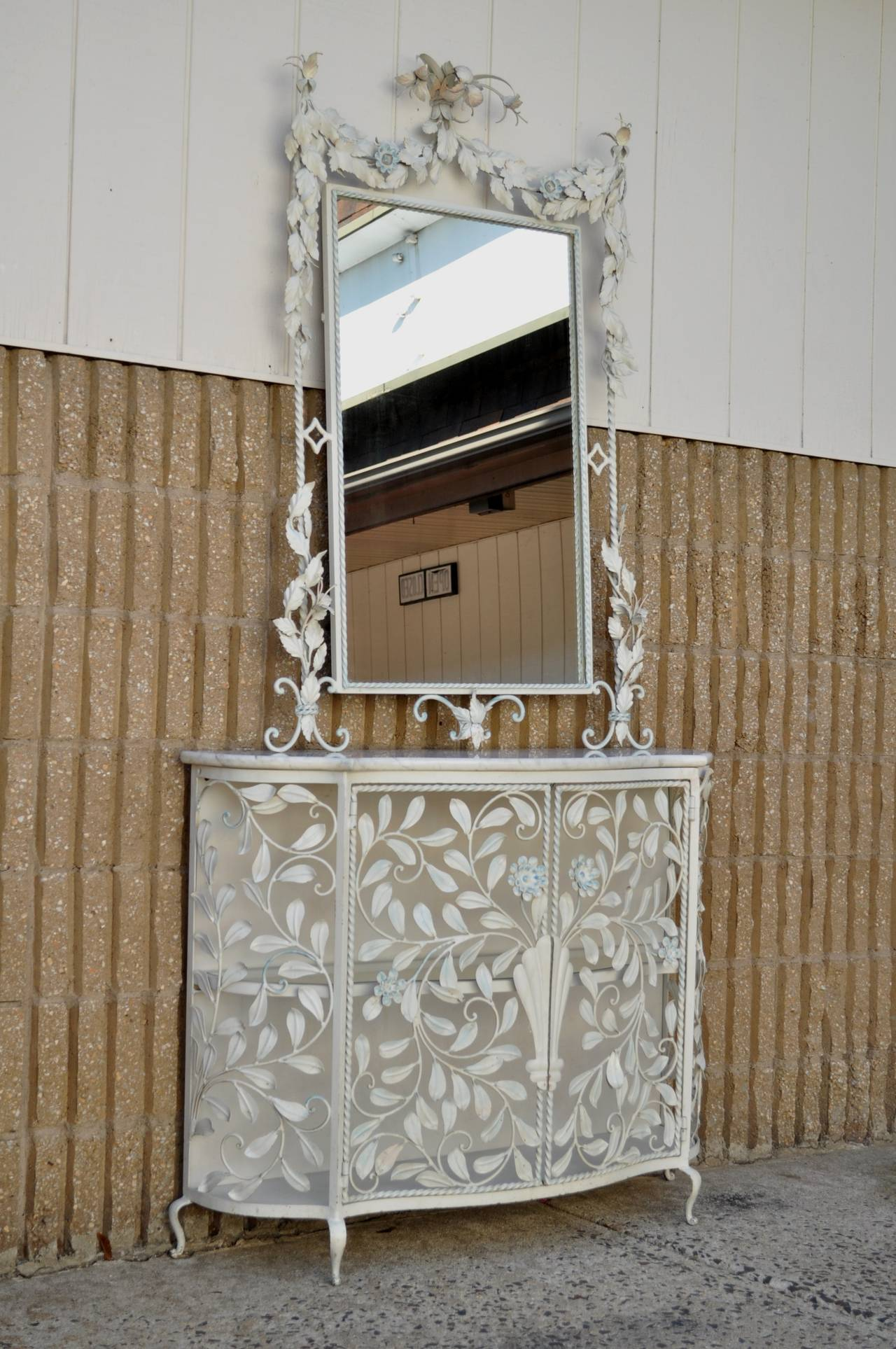 Ornate French Floral Wrought Iron Mirror and Marble Top Console ...