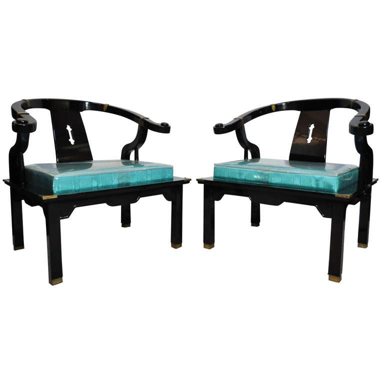 Pair chinoiserie oriental black lacquer lounge armchairs for Oriental furniture for sale