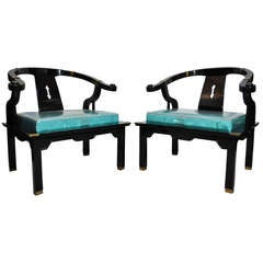 Pair Chinoiserie Oriental Black Lacquer Lounge Armchairs James Mont Asian Style