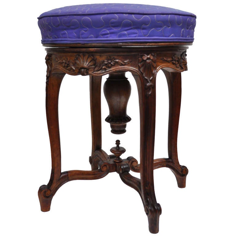 Antique french louis xv style carved walnut adjustable vanity stool piano seat at 1stdibs - Antique vanity stools ...