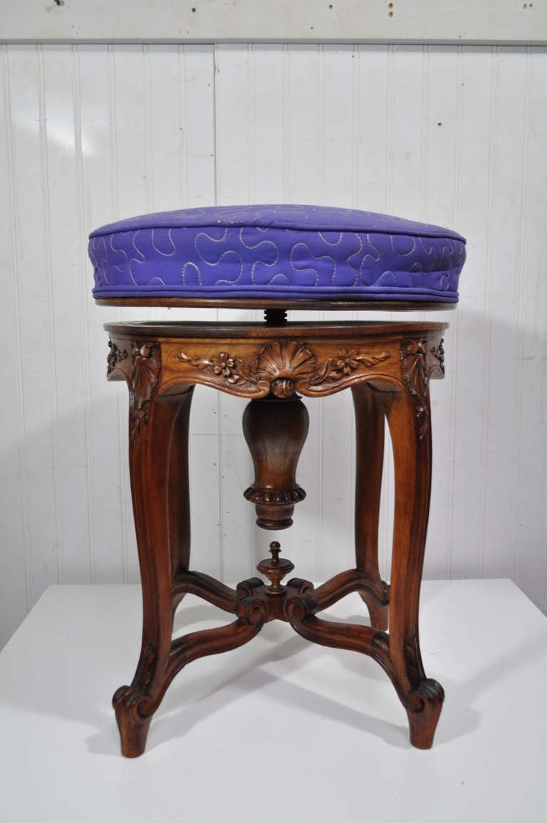 Antique French Louis Xv Style Carved Walnut Adjustable