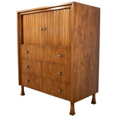 1960's John Widdicomb Tambour Door Tall Dresser with Brass Star Hardware