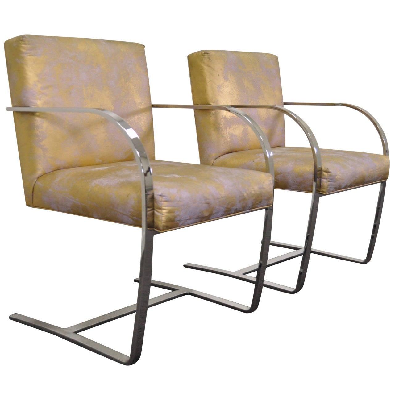 Pair of Cy Mann Flatbar Chrome Brno Style Chairs after Knoll Mies van der Rohe