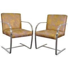 Pair of Cy Mann Flatbar Chrome Brno Style Chairs after Knoll Mies Van Der Rohe
