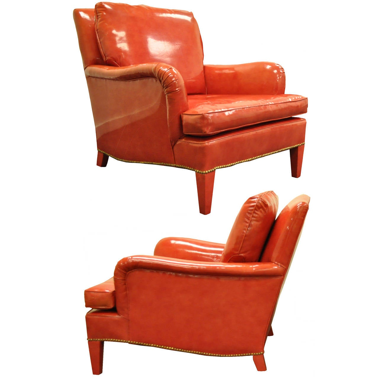 Pair of Hollywood Regency Red Vinyl English Style Fun Club Lounge Library Chairs