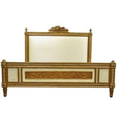 Ralph Lauren Home French Louis XVI Style Carved Giltwood King-Size Bed Frame