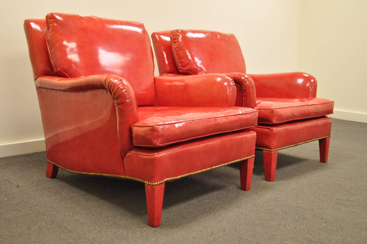 Pair of Hollywood Regency Red Vinyl English Style Fun Club Lounge Library Chairs For ...