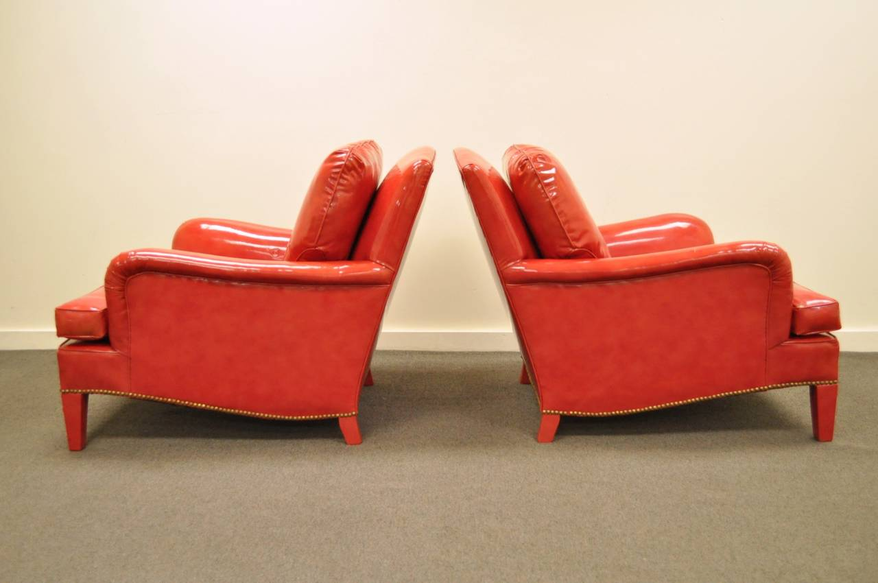 Pair of hollywood regency red vinyl english style fun club lounge library chairs for sale at 1stdibs - Library lounge chairs ...