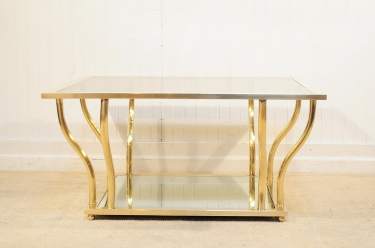 1960's Italian Brass and Glass Hollywood Regency Sculptural Coffee Table 9