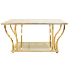 Italian Modern Brass and Glass Hollywood Regency Sculptural 2-Tier Coffee Table