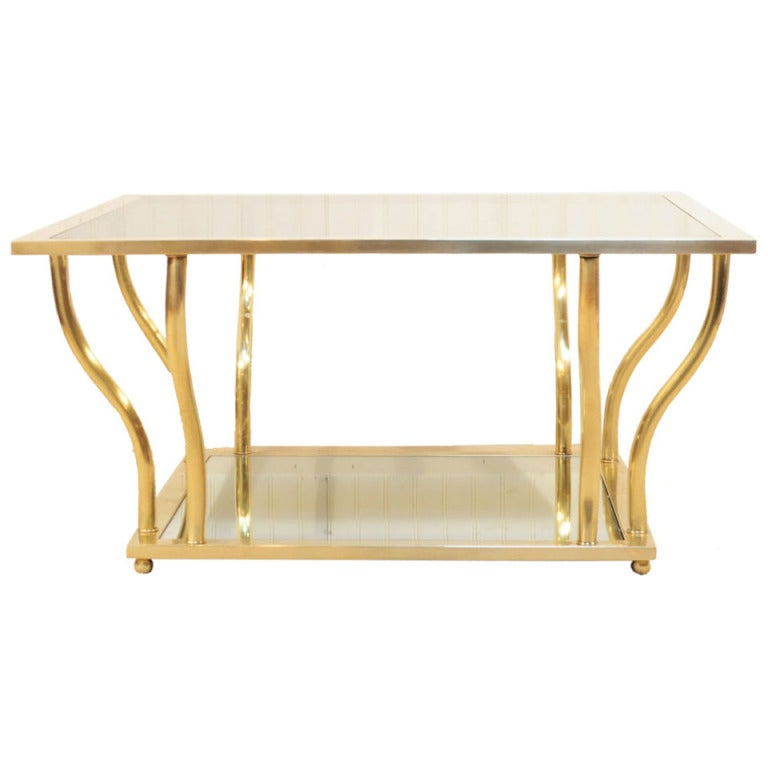 1960's Italian Brass and Glass Hollywood Regency Sculptural Coffee Table