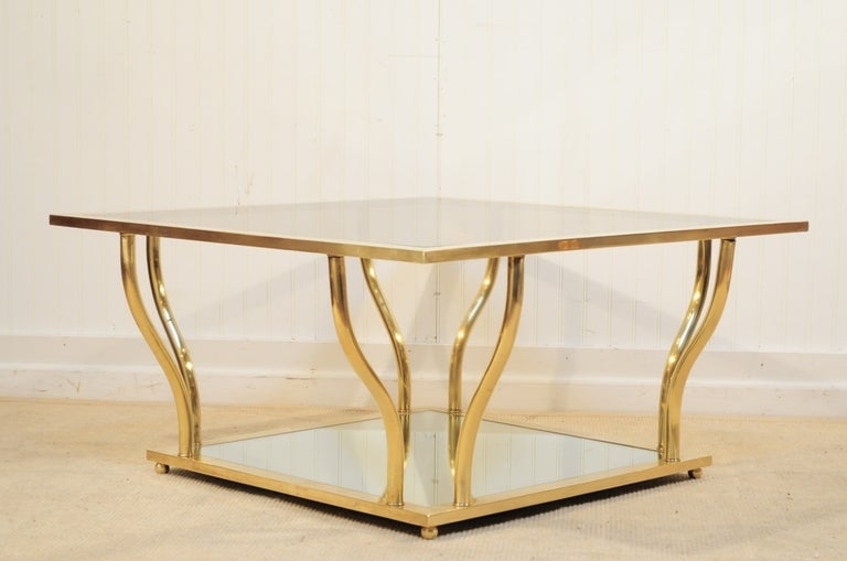 1960's Italian Brass and Glass Hollywood Regency Sculptural Coffee Table 2