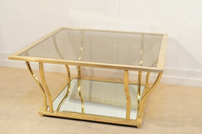 1960's Italian Brass and Glass Hollywood Regency Sculptural Coffee Table 3