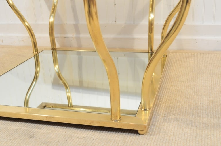 1960's Italian Brass and Glass Hollywood Regency Sculptural Coffee Table 8