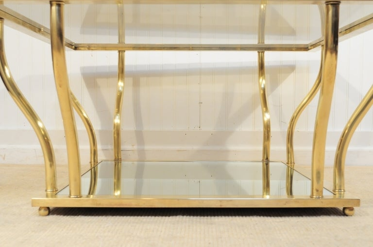 1960's Italian Brass and Glass Hollywood Regency Sculptural Coffee Table 4