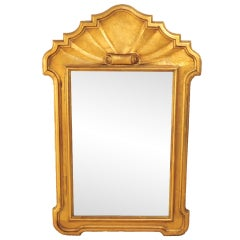 1940's Italian Carved Wood Scrolling Shell Form Gold Mirror