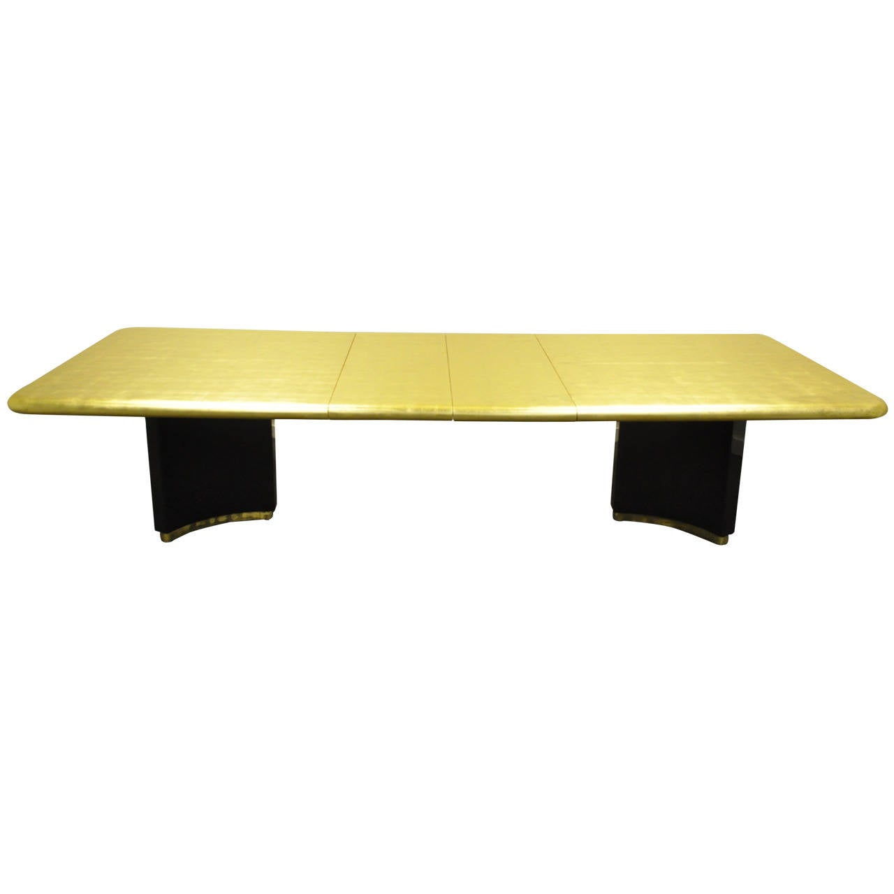 Custom gold leaf art deco style extension dining table for Extension maison