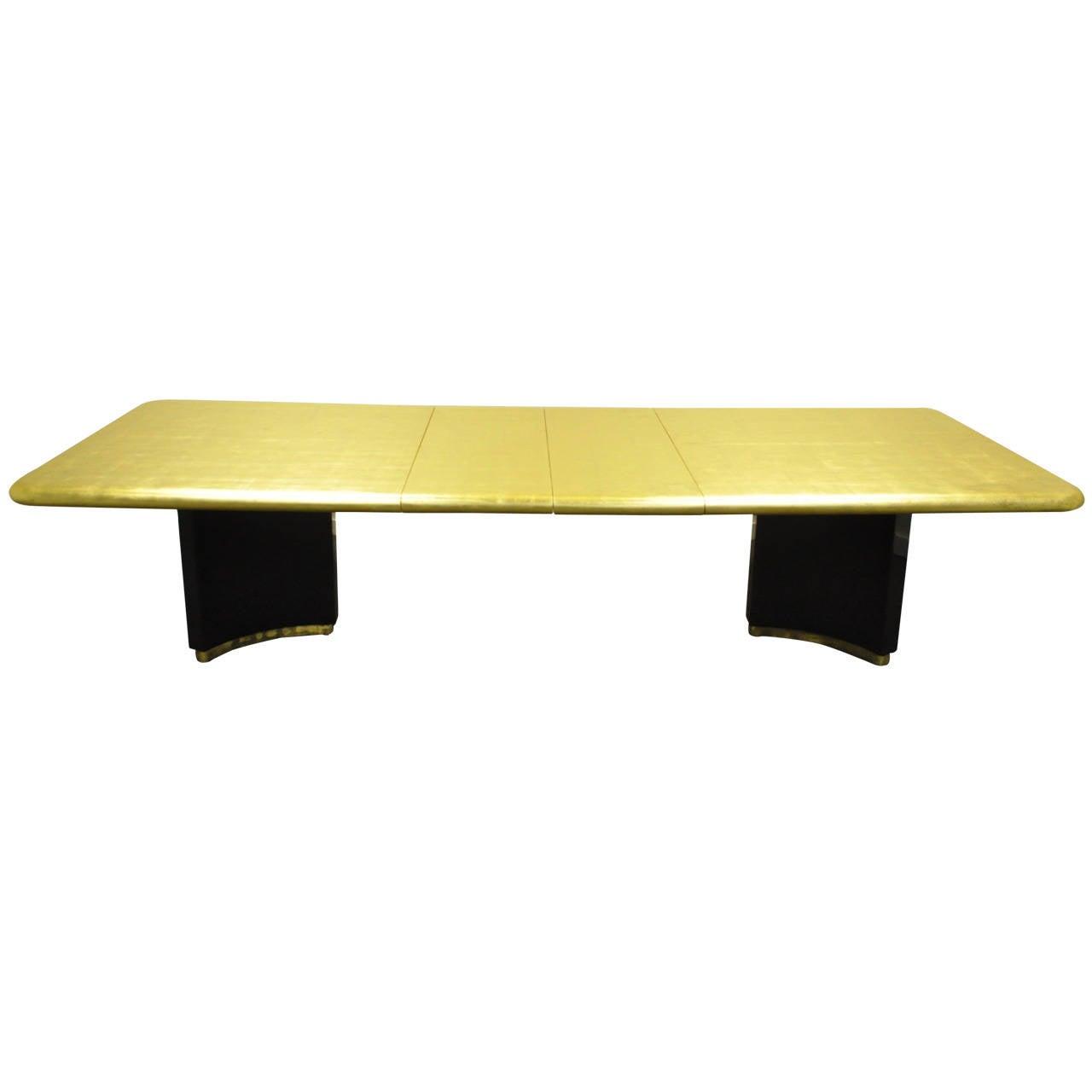 custom gold leaf art deco style extension dining table. Black Bedroom Furniture Sets. Home Design Ideas