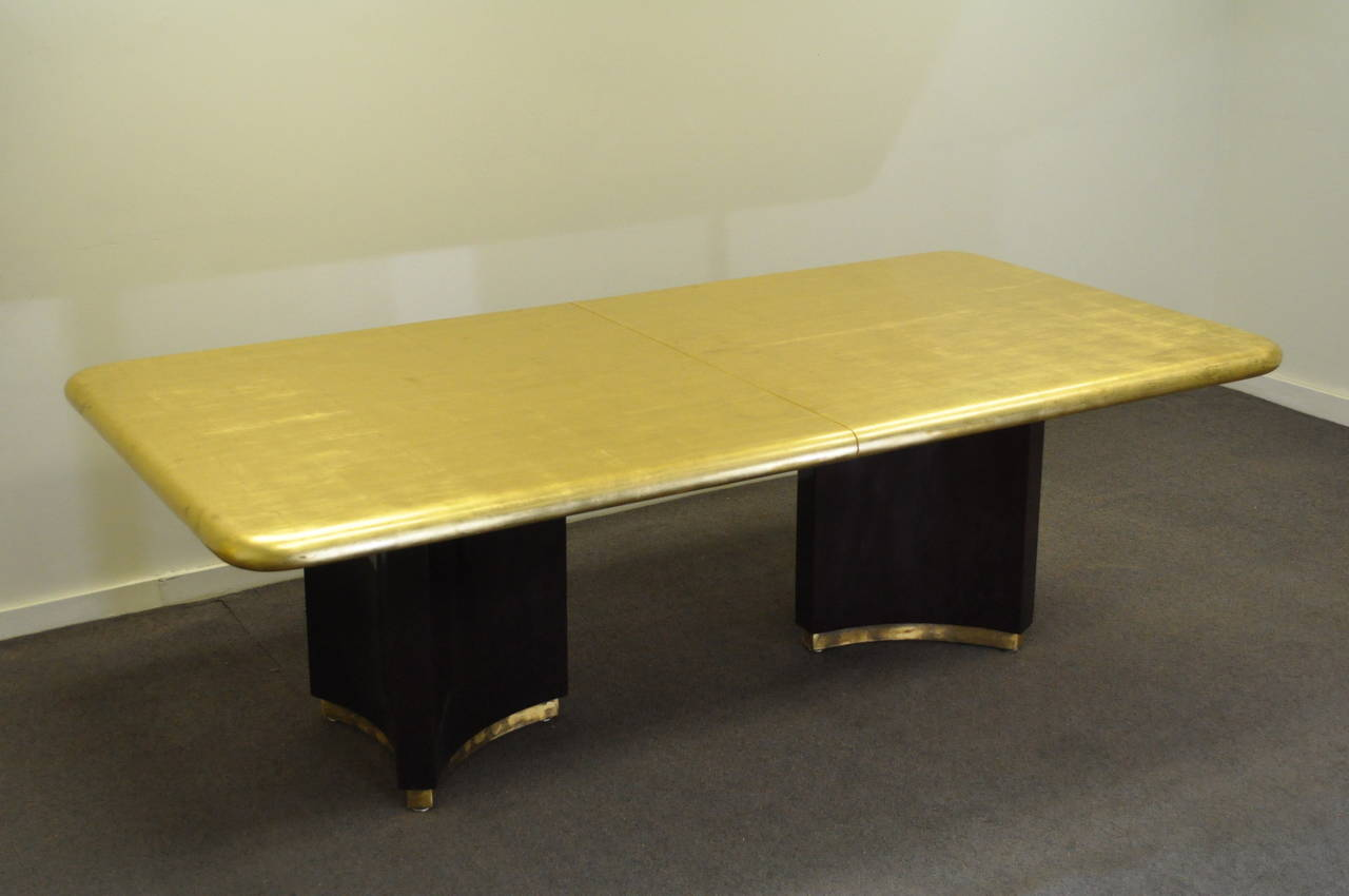 Gold Dining Tables ~ Custom gold leaf art deco style extension dining table