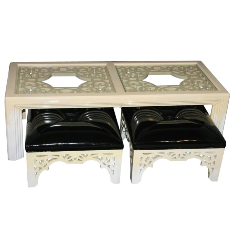 Hollywood Regency Chinoiserie Coffee Table With Tufted Stools