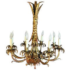 1940's Hollywood Regency Italian Wheat Sheaf Gold Gilt Iron Chandelier
