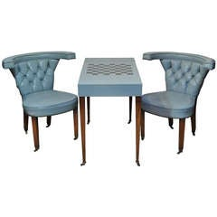 Blue Leather Game Table Set with Pair of Tufted Cock Fighting Chairs in the Ed Wormley Dunbar Style