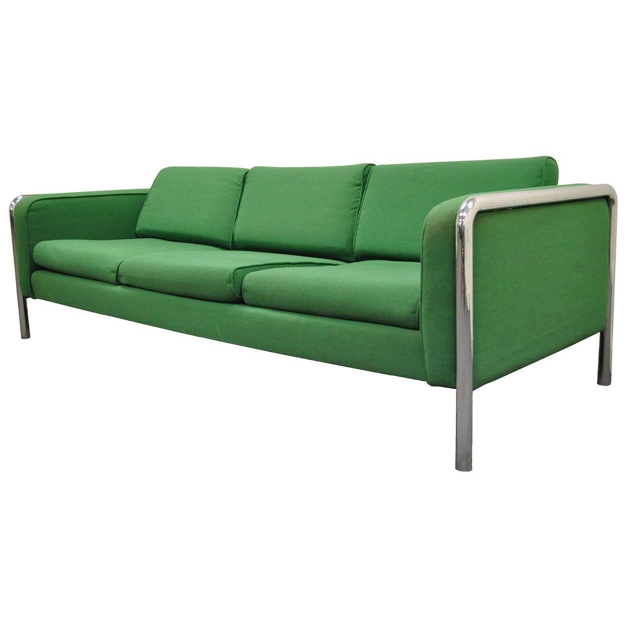 Mid Century Modern Tubular Chrome Frame Sofa after Milo Baughman