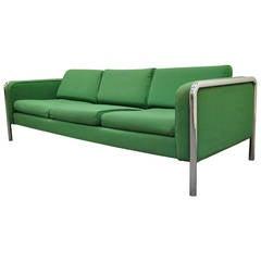 Mid Century Modern Tubular Chrome Frame Green 3 Seat Sofa after Milo Baughman