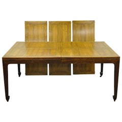 Baker Far East Collection Asian Modern Walnut Banded Dining Table Three Leaves