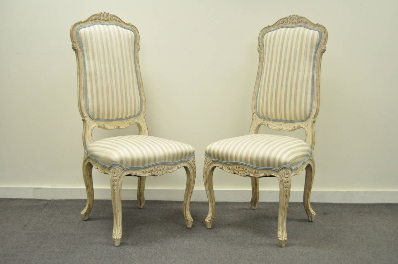 4 Carved Swedish Rococo Or French Louis XV Style Painted Dining Chairs For Sa