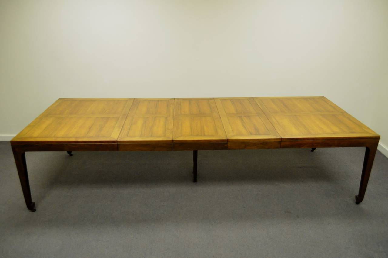 Baker Far East Collection Walnut Banded Dining Table With Three Leaves 2