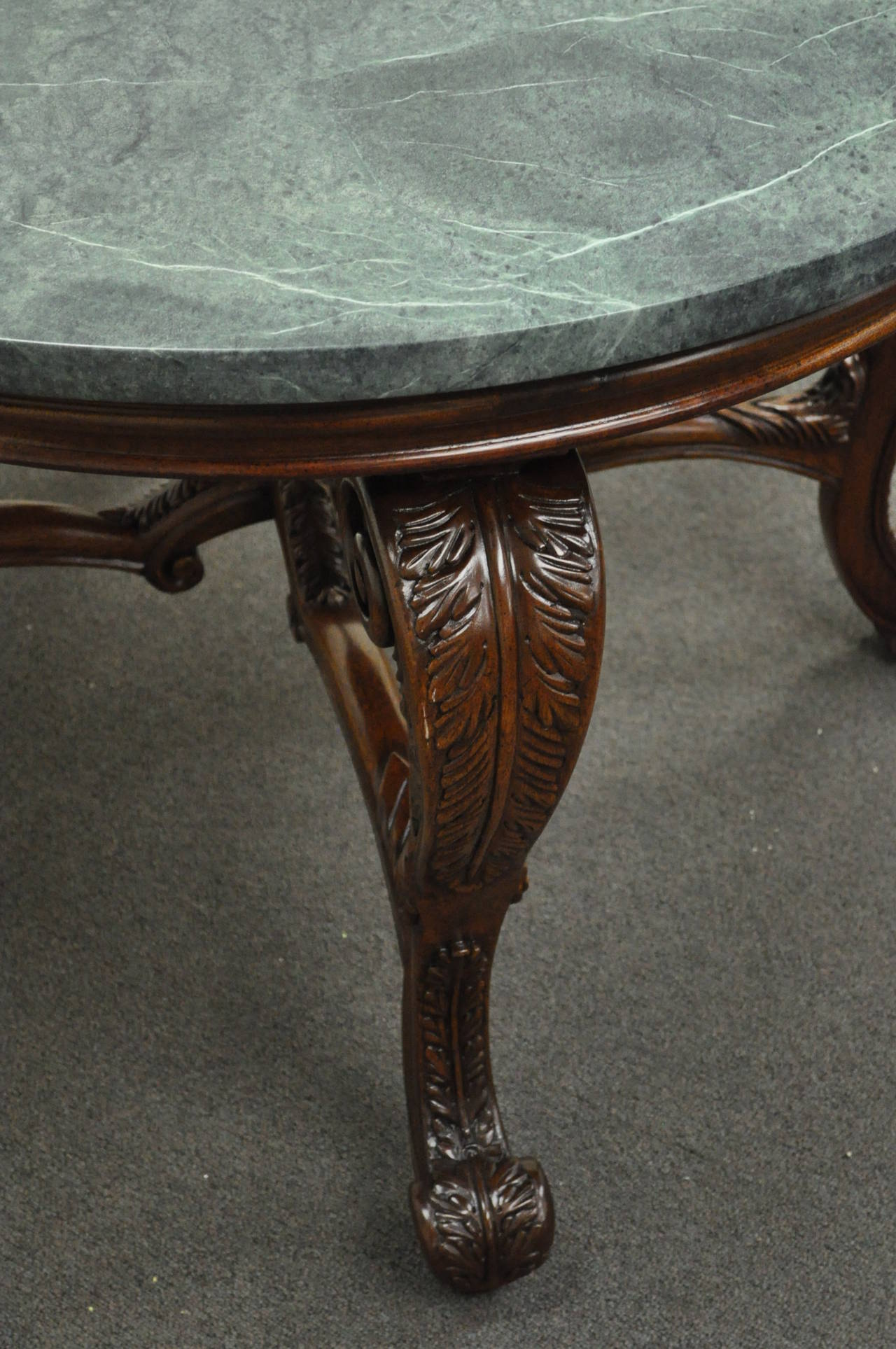 French louis xv style carved mahogany and green marble top