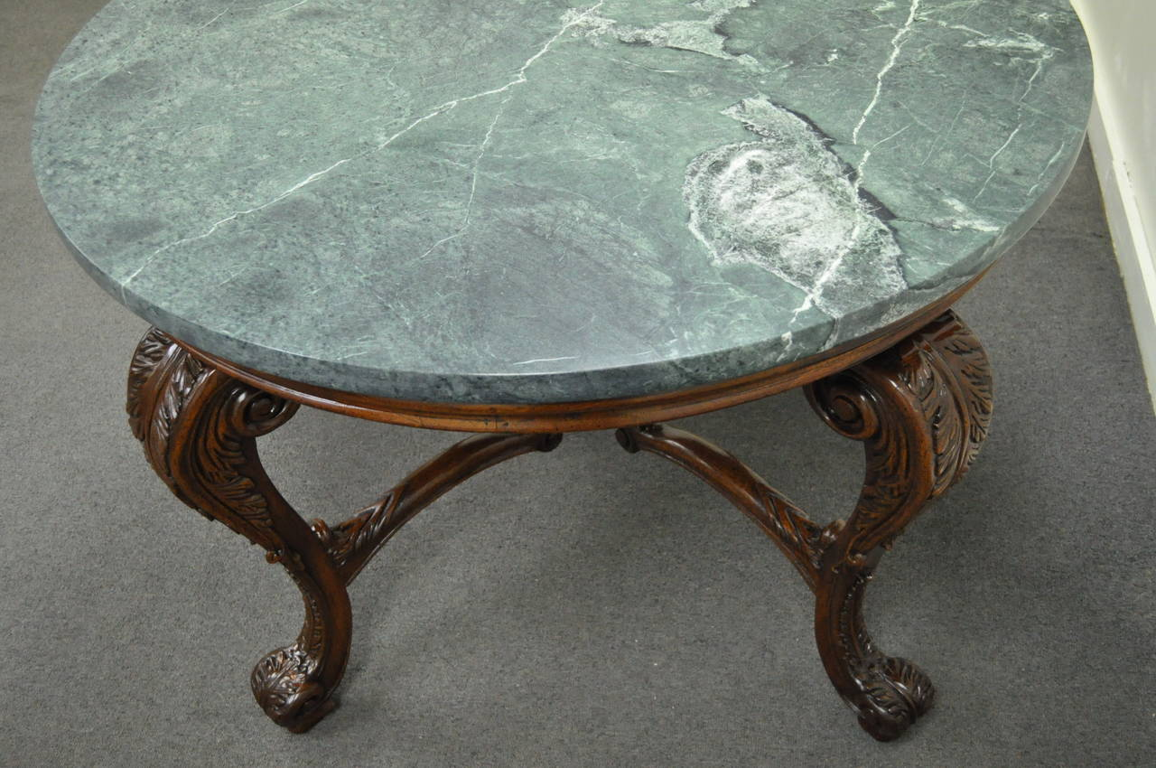 French Louis XV Style Carved Mahogany and Green Marble-Top Round ...