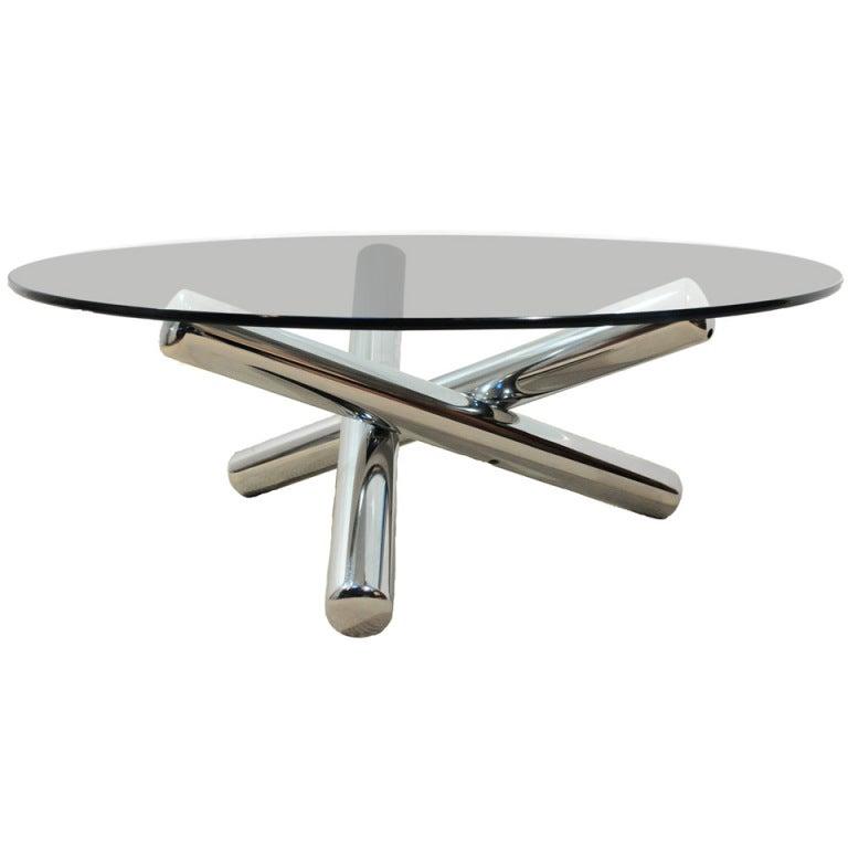 Milo Baughman Chrome Coffee Table: 1970's Milo Baughman Chrome And Glass Sculptural