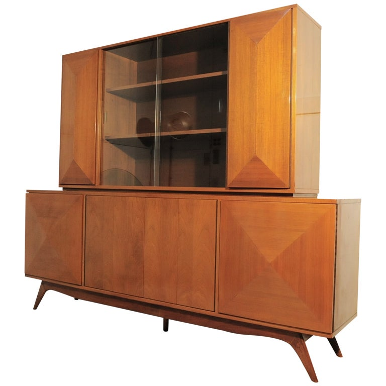 3 Dimensional Diamond Front 2 Piece Credenza Cabinet after Vladimir Kagan